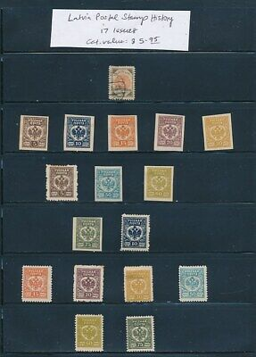 OWN PART OF LATVIA POSTAL STAMP HISTORY. 17 ISSUES CAT VALUE $5.95