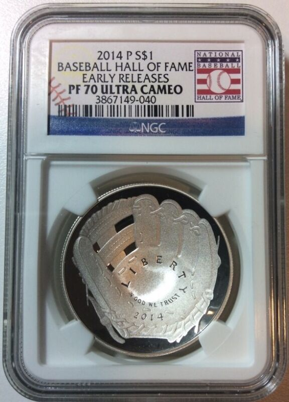 2014-P Proof $1 Silver Baseball HOF Hall of Fame NGC PF70 UC Early Release