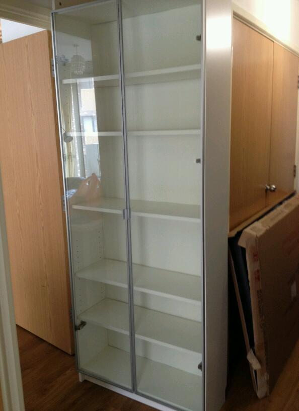 Ikea Billy Extension Door : old white IKEA billy book case, with top extension and glass doors