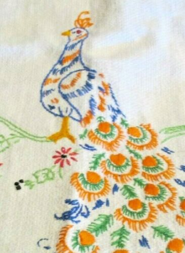 HAND EMBROIDERED HUCK KITCHEN TOWEL - Peacock with Hand Crocheted Trim
