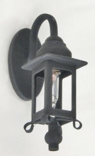 Dollhouse  Miniature Light Black Coach Lamp Sconce 1:12 Scale 12 Volt Electric
