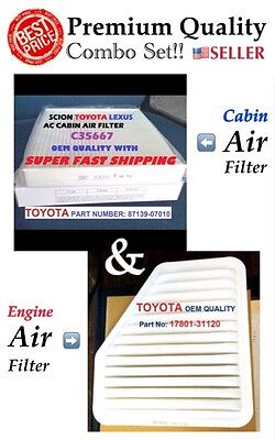 Combo Engine&Cabin Air Filter For CAMRY VENZA Rav4 Vibe ES350 xB tC OEM QUALITY  ()