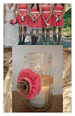 8 Coral  Mason Jar Candle Centerpiece Wedding Party Shower Decorations - Coral Bridal Shower Decorations