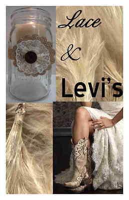 8 Ivory Burlap Lace Levi's Mason Jar Wedding Rustic Candle Table Decorations - Mason Jar Table Centerpieces
