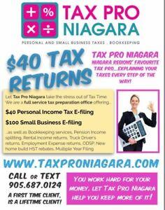 TAX PRO NIAGARA - $40 Personal Taxes, $100 Small Business Taxes