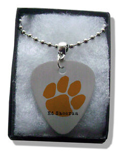 Ed Sheeran Orange Paw Metal Guitar Pick Necklace - Chain