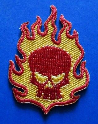 "THE OFFSPRING Small Skull & Flames EMBROIDERED IRON-ON PATCH 1.5"" - punk smash"