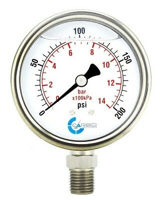 2-12 Pressure Gauge Stainless Steel Case Liquid Filled Lower Mnt 200 Psi