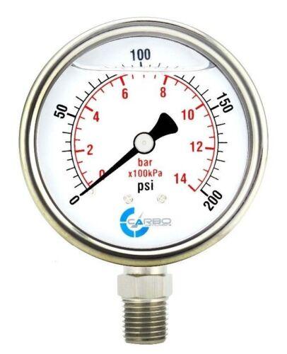 "2-1/2"" Pressure Gauge, Stainless Steel Case, Liquid Filled, Lower Mnt 200 PSI"