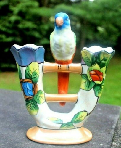 Gorgeous Iridescent Double Tulip Vase with Parrot, Colorful Mid-Century VTG
