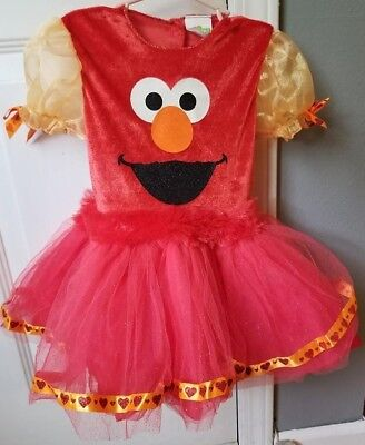 Deluxe Elmo Tutu Costume Sesame Street Halloween Dress 3T-4T Sparkle Red Heart