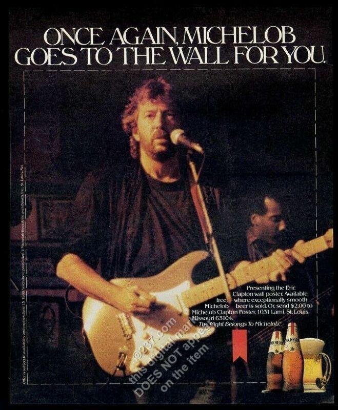 1988 Eric Clapton photo Michelob beer vintage print ad