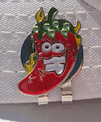 Hot Crazy Chili Pepper Golf Ball Marker - W/Bonus Magnetic Hat Clip - Crazy Golf Hats