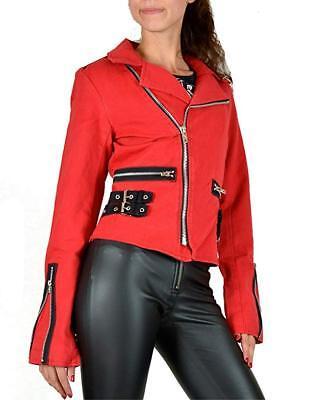 Tripp NYC D-Ring Moto Red Punk Rockabilly Ska Gothic Biker Rocker Jacket BD3242 Clothing, Shoes & Accessories