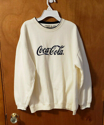 Coca-Cola Classic Logo Cream Color with Blue Letters Pullover Sweatshirt Size M