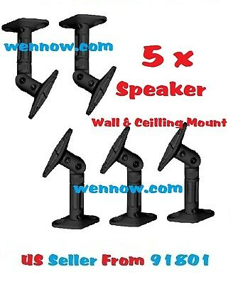 - Set 5 Speaker Ceiling / Wall Mounting - Black Max 10LBS