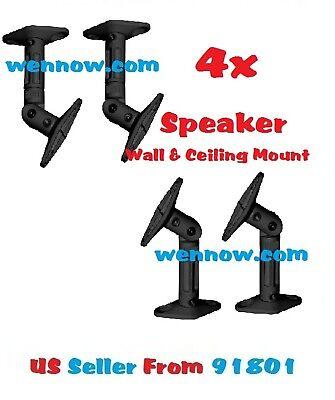 - Set 4 Speaker Ceiling / Wall Mounting - Black Max 10LBS