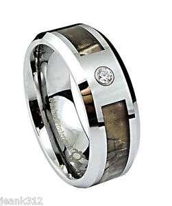 Diamond Tungsten Carbide Wedding Band Ring 8mm Modern Mens Camo Inlay 0 05ct