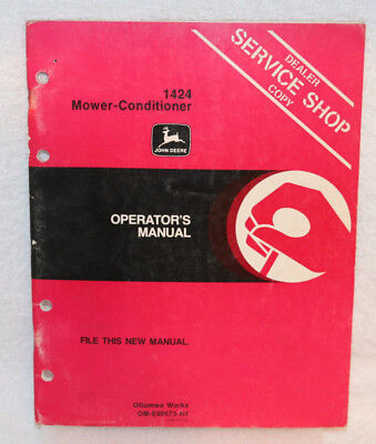 John Deere 1424 Mower-Conditioner Operator Manual Dealer Service Shop Copy