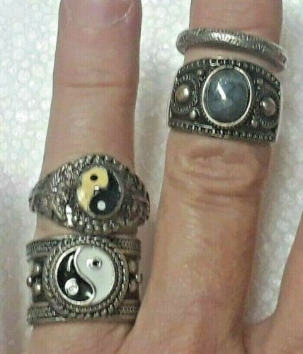lot of 4 silver tone gold tone ring band with ying yang + blue stone. Lucky You