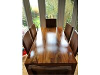 Lovely rosewood dining table + 6 chairs