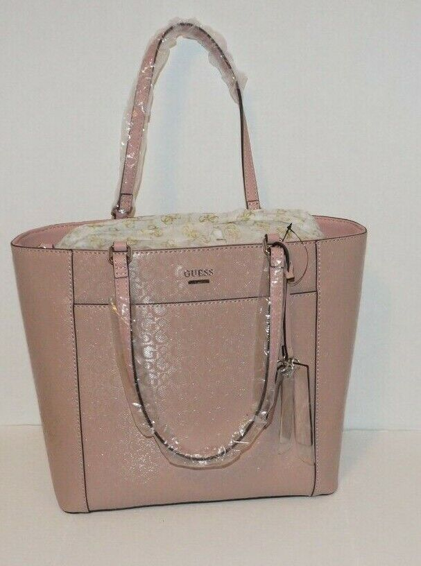 Guess Hickory Tote Satchel Dusty Mauve Signature PVC Leather
