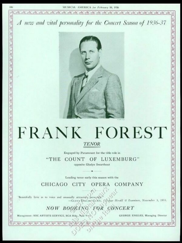 1936 Frank Forest photo singing recital USA tour trade booking ad