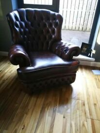 Beautiful Antique Buttoned Leather Wing Chair