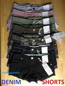 Ladies-Womens-Jeans-Denim-Shorts-Hot-Pants