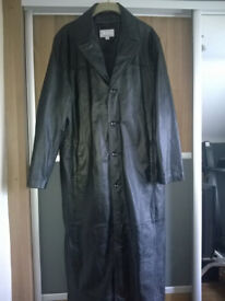 Full Length Black Leather Coat - Excellent Condition