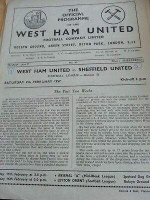 West Ham v Sheffield United 9/2/57