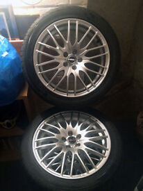 "17"" Alloy Wheels 17x7 5x100 Borbet with Bridgestone tyres"
