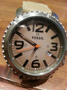 FOSSIL GREEN CANVAS BAND COMPASS MEN'S WATCH JR1139-USED