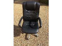 Swivel Leather Effect Chair with Arm Rests