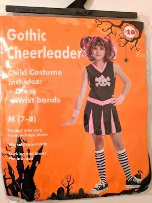 Gothic Cheerleader Childs Costume Kids Halloween Party Dress Up Pretend Play - Halloween Cheerleader Costume Kids