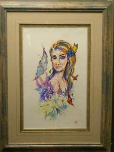HUGE Original Water Colour ISLAND GIRL by Artist Elisa Steel Reedy Creek Gold Coast South Preview