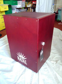 Natal cajon box-drum (with inner snare), as new, dark red, 48h 36d 30w (cm)