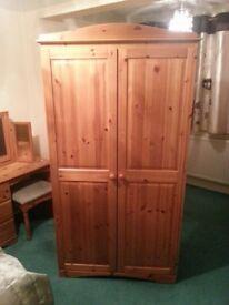 Twin Door Pine Wardrobe. Good Condition
