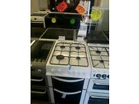 LOGIK WHITE 50CM WIDE BRAND NEW DOUBLE OVEN GAS COOKER WITH GLASS LID