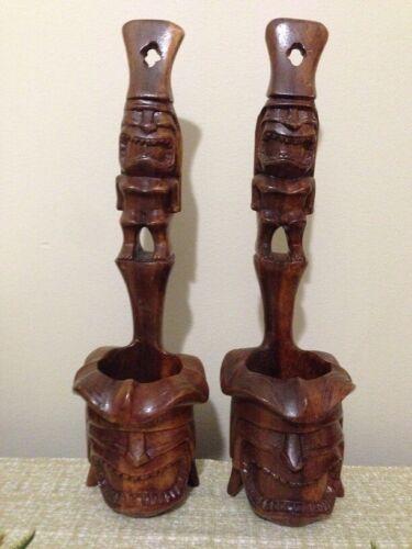 Tiki Statue Mask Candle Tea Light Holder Votive Set Wall Stand Table Sconce