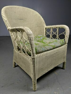 Vintage White Wicker/Rattan Club Arm Chair Lounge Cushioned w/ Springs Trellis  ()