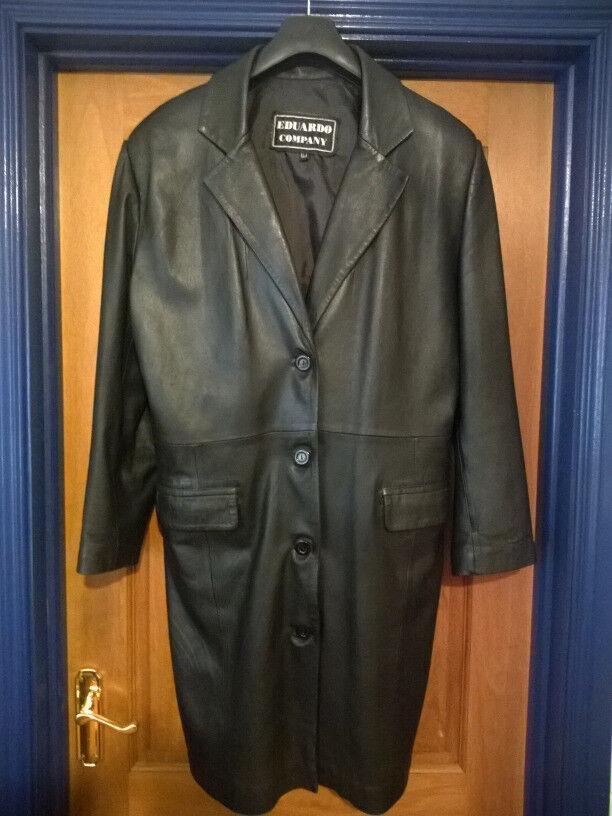 Black Leather Coat - Good Condition