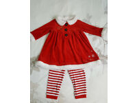 Girl Santa Claus Christmas Outfit/Costume/Dress, leggings size 18-24 months/1.5-2 years (Mothercare)
