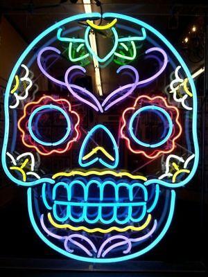 Colorful Skull  Neon Sign Light Beer Bar Pub Wall Display Decor Neon Sign