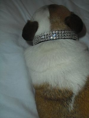 "3 row Black With Clear Crystal Rhinestone Dog Collar 9-12"" by Blinged Out Pet"