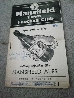 Mansfield Town v Derby County 20/10/56