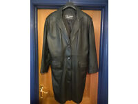 Long Length Black Leather Coat - Good Condition