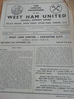West Ham v Leicester City 25/2/56