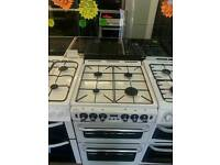 STOVES WHITE 55Cm WIDE DOUBLE OVEN GAS COOKER WITH GLASS LID