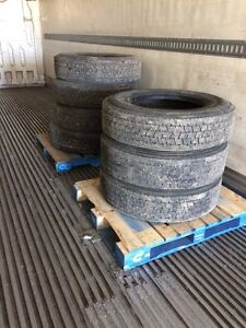 Trailer Tires (7) for sale 275/80R22.5 - 50% wear